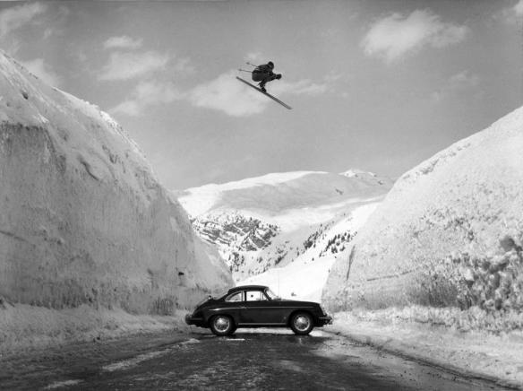 1963 Egon Zimmermann flying over a Porsche 356