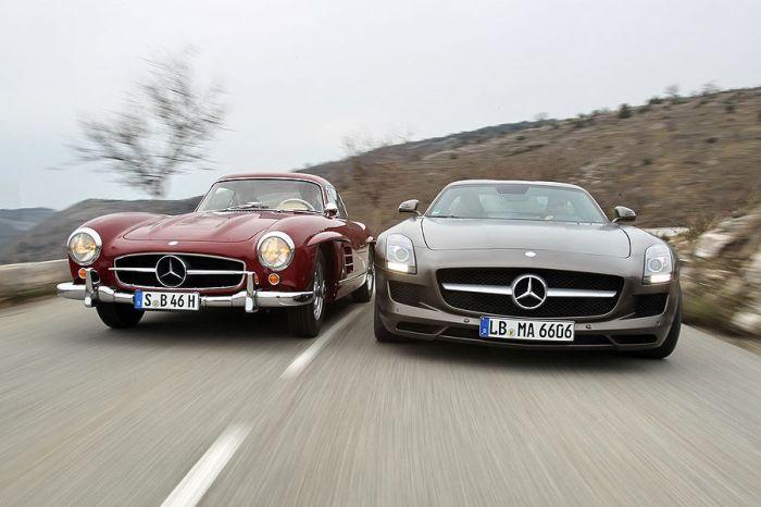 Mercedes-300-SL-und-SLS-AMG