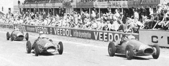1953 GP Francia - Mike Hawthorn (ferrari 500) 1st, Alberto Ascari (ferrari 500) 4th, Luigi Villoresi (ferrari 500) 6th