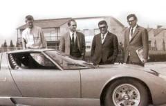 Bob Wallace, Marcello Gandini , Ferruccio Lamborghini y Gian Paolo Dallara