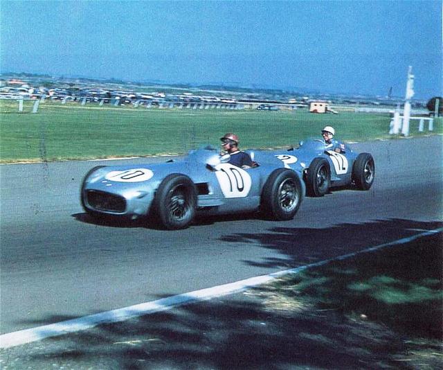 1955 GP de Gran Bretaña Fangio y Moss