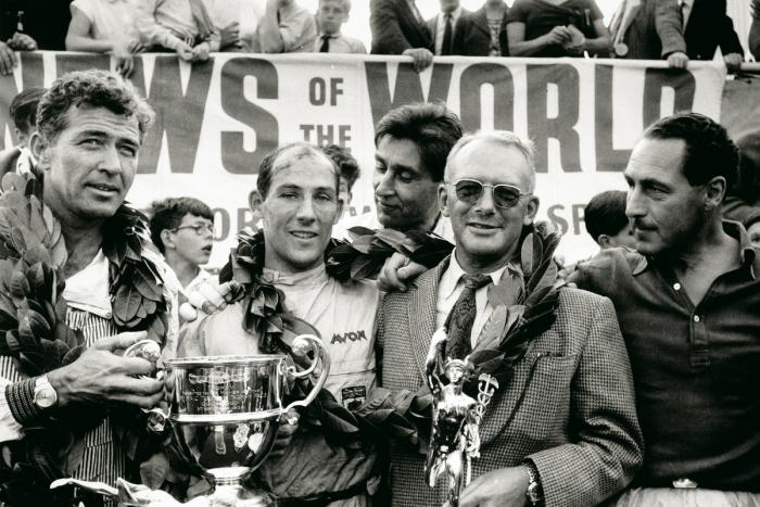 1959 Goodwood Tourist Trophy. Carroll Shelby, Stirling Moss y David Brown.