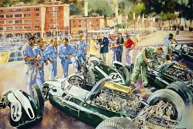 1959 GP de Monaco Cooper Team (Pintura de Craig Warwick)