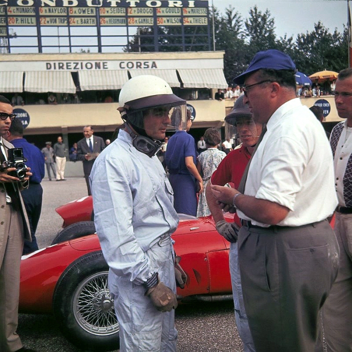 1960 GP de Italia Richie Ginther y Phil Hill, con Carlo Chitti