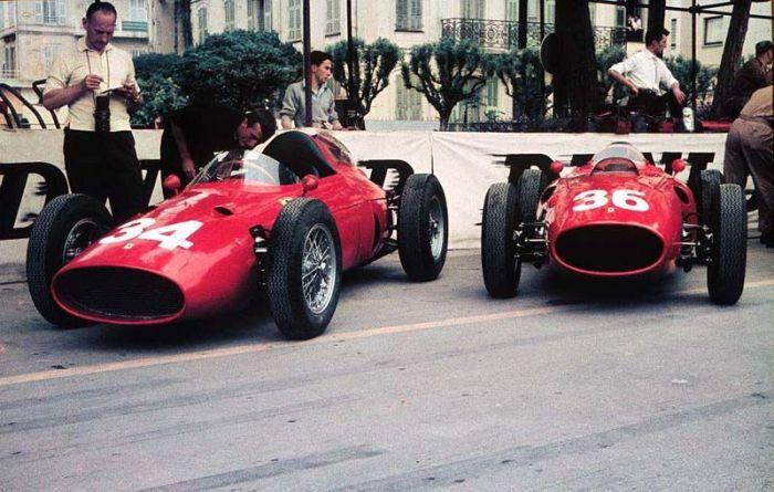 1960 GP de Monaco 246 P (Ginther n°34) y 246 F1 (P Hill n°36)