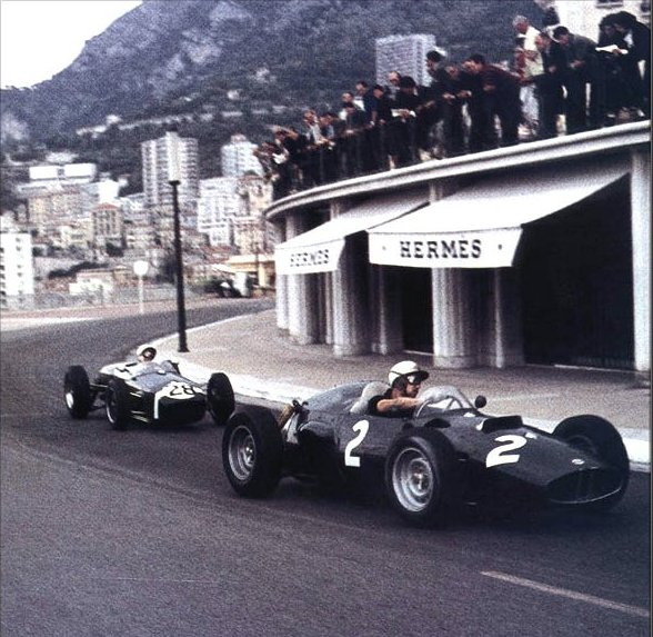 1960 GP de Monaco (Jo Bonnier BRM P48, Stirling Moss Lotus 18)