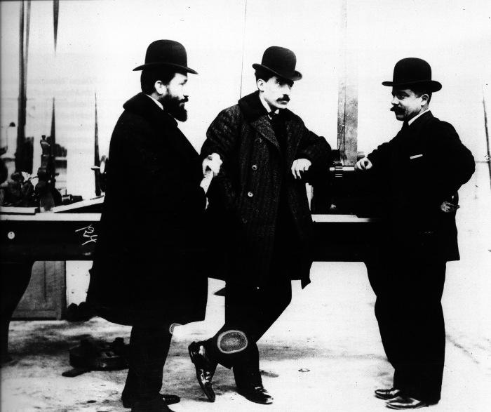 Los tres hermanos Renault: Marcel, Louis y Fernand.