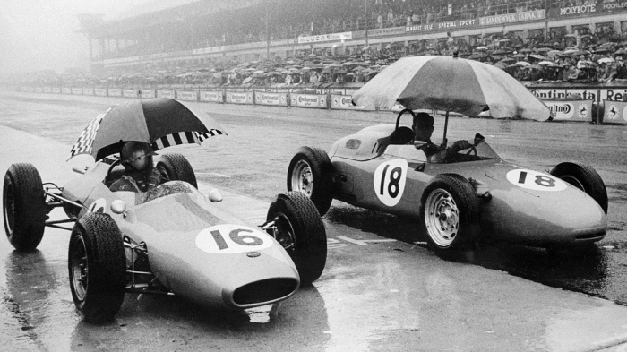 1962 GP de Alemania - Jack Brabham (Brabham BT3) - Count Godin de Beaufort (Porsche 718)