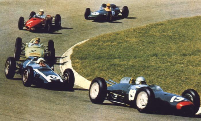 1962 GP de Holanda Zandvoort (John Surtees Lola Mk 4, Bruce McLaren Cooper T60, Innes Ireland Lotus 24, Phil Hill Ferrari 156, Trevor Taylor Lotus 24)