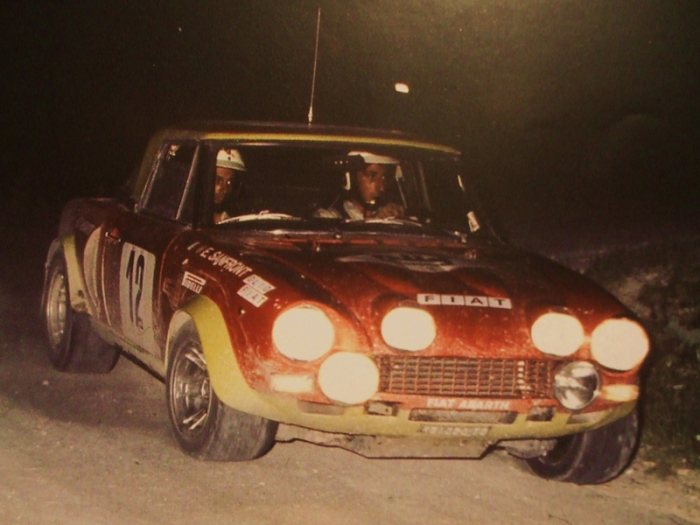 Roberto Cambiaghi and Emanuele Sanfront on a Fiat 124 Abarth Rally at the Rally delle Regioni 1975 (valid for European Rally Championship)